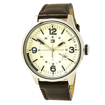 Tommy Hilfiger 1791102 Men's Hybrid Casual Sport Beige Dial Brown Leather Strap Watch