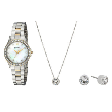 Bulova 98X112 Women's Crystal Two Tone Yellow Gold Steel Watch with Pendant & Earrings Set