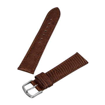 Hadley Roma Brown 20  mm Wide Lizard Grain Leather Strap
