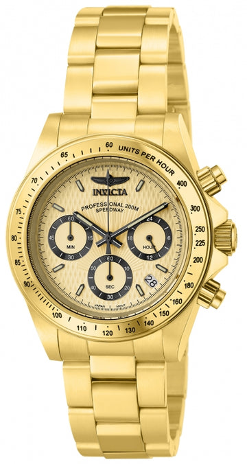 Invicta Men's Chronograph Watch - Speedway Gold Dial Yellow Gold Steel Dive | 14929