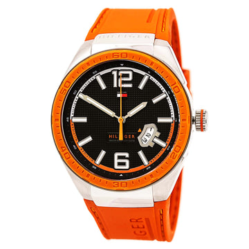 Tommy Hilfiger 1790726 Men's Logo Embossed Orange Silicone Strap Black Dial Quartz Date Watch