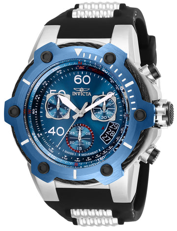 Invicta Men's Chronograph Watch - Bolt Blue Dial Steel & Black Silicone Strap | 25871