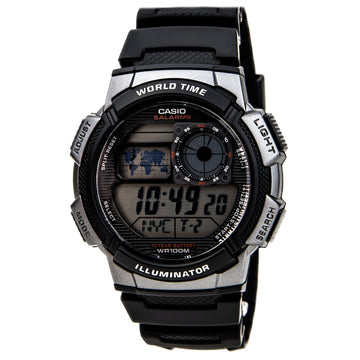 Casio Men's Digital Watch - World Time Grey Dial Resin Strap | AE1000W-1B