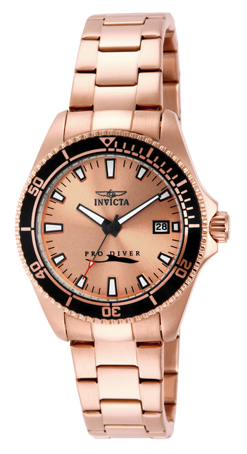 Invicta 15137 Women's Pro Diver Rose Gold Dial Rose Gold Steel Bracelet Watch