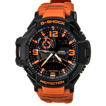 Casio GA1000-4A Men's G-Shock Orange Resin Strap Alarm Black Ana-Digi Dial Quartz Dive Watch