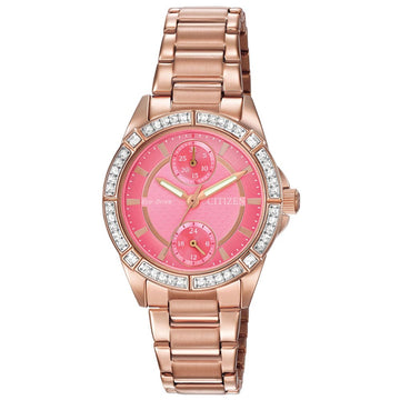 Citizen Women's Eco Drive Watch - POV Swarovski Crystal Pink Dial Rose Gold Steel