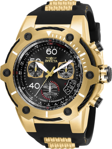 Invicta Men's Chronograph Watch - Bolt Yellow Steel & Rubber Strap Black Dial | 25874