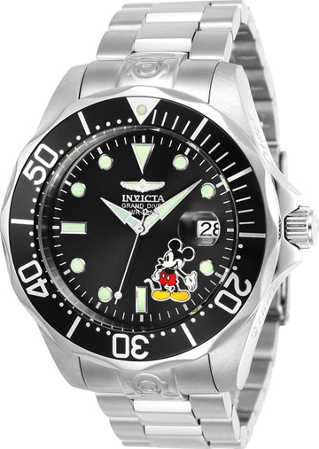 Invicta 24496 Men's Disney Grand Diver Black Dial Steel Bracelet Automatic Dive Watch