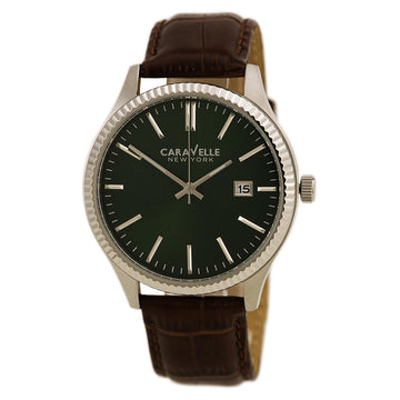Caravelle 43B133 Men's New York Green Dial Brown Leather Strap Date Watch