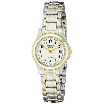 Citizen EU1974-57A Women's Quartz Beige Dial Two Tone Stainless Steel Bracelet Watch