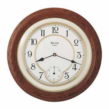 Bulova C4596 William Floating Beige Dial Traditional Dark Oak Wood Wall Clock