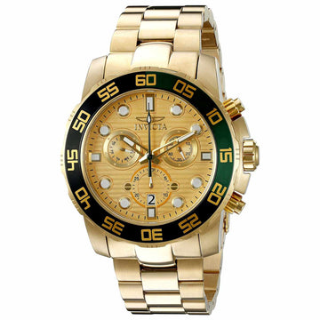 Invicta 21554 Men's Yellow Steel Bracelet Swiss Pro Diver Chrono Gold Tone Dial Day-Date Watch