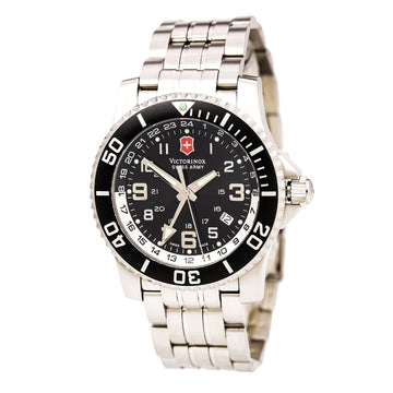 Swiss Army 24701 Men's Maverick II 2nd Time Zone Black Dial Steel Bracelet Watch