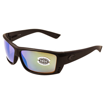 Costa Del Mar AT01OGMGLP Men's Cat Cay Polarized Green Mirror 580G Lens Blackout Frame Sunglasses