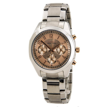 Caravelle 45L143 Women's Chrono Steel Bracelet Rose Dial Watch