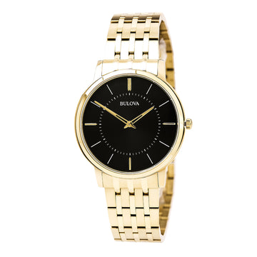 Bulova 97A127 Men's Classic Black Dial Yellow Gold Plated Steel Bracelet Ultra-Slim Watch