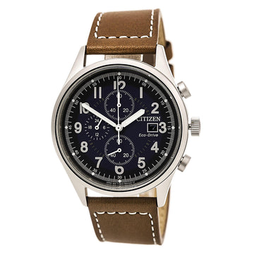 Citizen Men's Chronograph Watch - Chandler Eco-Drive Blue Dial Brown Leather Strap