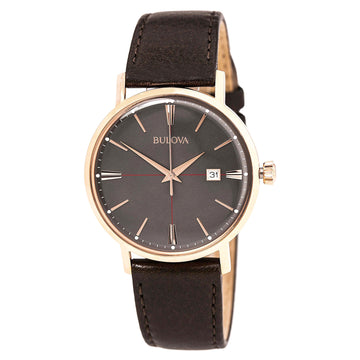Bulova 97B154 Men's Classic Grey Dial Rose Gold Plated Steel Brown Leather Strap Watch