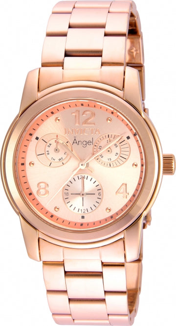 Invicta 21687 Women's Rose Gold Dial Quartz Angel Rose Gold Steel Bracelet Day-Date Watch