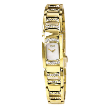 Citizen Women's Yellow Gold Steel Watch - Silhouette Crystal Eco Drive MOP Dial