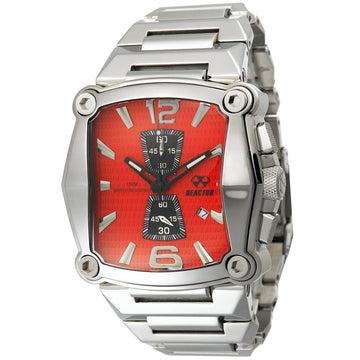 Reactor 57011 Men's Nucleus DNA Bright Red Dial Steel Bracelet Chronograph Watch