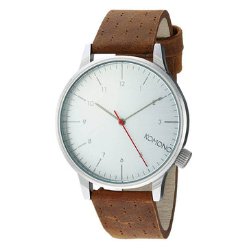 Komono Men's Strap Watch - Winston Walnut Brown Leather Silver Dial | KOM-W2103