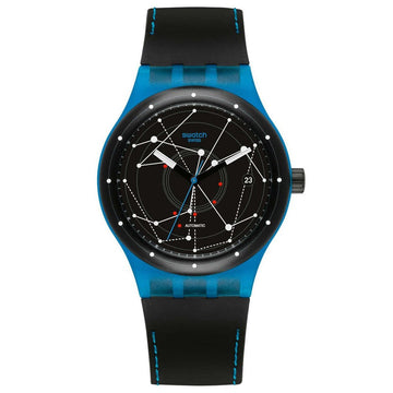 Swatch SUTS401 Unisex Sistem51 Black Silicone Strap Black Dial Swiss Automatic Date Watch