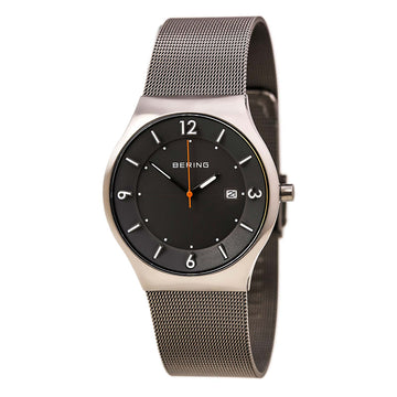 Bering 14440-077 Men's Solar Grey Dial Grey Milanese Steel Mesh Bracelet Watch