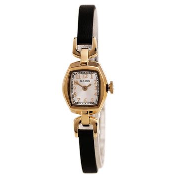 Bulova 97L154 Women's Classic Silver Tone Dial Rose Gold Steel Black Leather Strap Watch