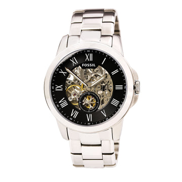 Fossil ME3055 Stailess Steel Armband für Herren Automatic Grant Black-Silver Semi-Skeleton Dial Watch