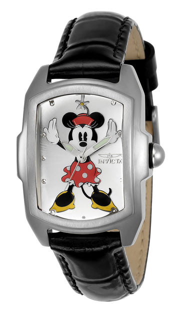 Invicta 23775 Women's Disney Silver Dial Interchangeable Black Leather Strap Quartz Watch