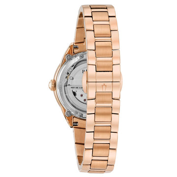 Bulova 97P121 Women's Diamond Automatic Semi-Skeleton MOP Dial Rose Gold Steel Power Reserve Watch