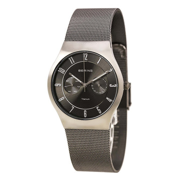 Bering 11939-077 Men's Titanium Classic Black Dial Grey Mesh Bracelet Day Date Watch