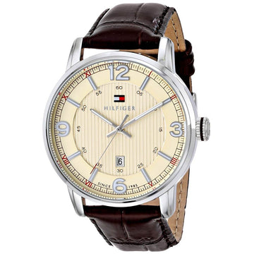 Tommy Hilfiger 1710343 Men's George Beige Dial Brown Leather Strap Watch