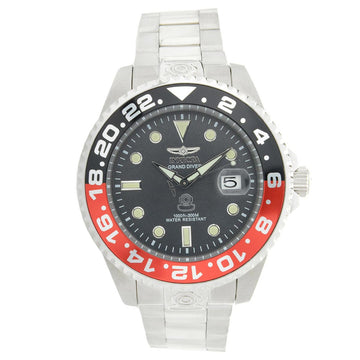 Invicta 21867 Men's Grand Diver Black & Red Accented Bezel Steel Bracelet Automatic Dive Watch