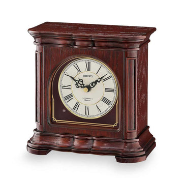Seiko Mantel Clock - Desk & Table Beige Dial Brown Wood Musical | QXW243BLH