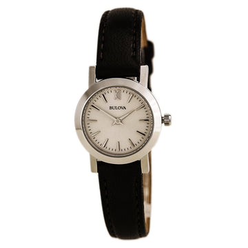 Bulova Women's Classic Leather Strap Watch - Quartz Silver Dial | 96L210