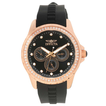 Invicta 21902 Women's Angel Crystal Accented Bezel Black Dial Black Polyurethane Strap Watch