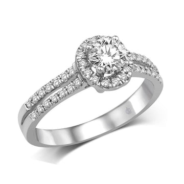 14K White Gold 3/4 Ct.Tw Engagement Ring