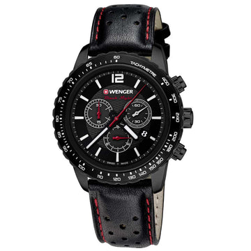 Wenger 01.0853.108 Men's Roadster Black Night Black Steel Black Strap Chrono Black Dial Date Watch