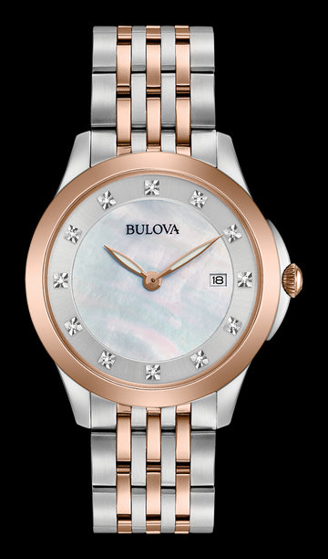 Bulova 98P162 Women's Diamonds White MOP Dial Two Tone Steel Watch