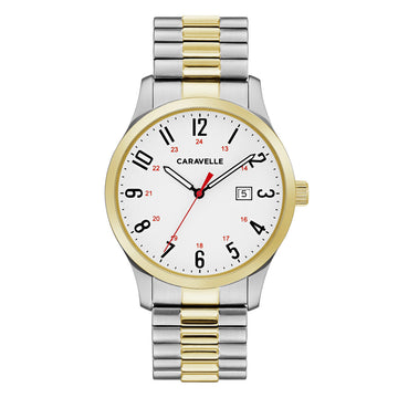 Caravelle 45B147 Men's White Dial Two Tone Yellow Gold Expansion Bracelet Watch