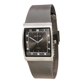 Bering 11233-077 Men's Classic Black Dial Grey Titanium Mesh Bracelet Watch