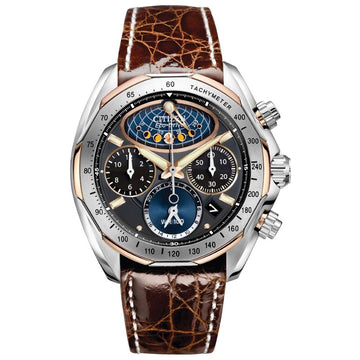 Citizen AV3006-09E Men's Signature Moon Phase Flyback Chrono Brown Leather Strap Eco-Drive Watch