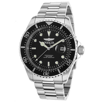 Invicta 22047 Men's Pro Diver Black Dial Stainless Steel Bracelet Dive Watch