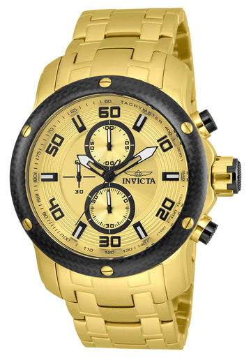 Invicta 24155 Men's Pro Diver Gold Dial Yellow Gold Steel Bracelet Chronograph Watch