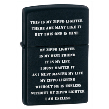 Zippo 24710 ZPP Creed Classic Powdercoat Black Matte Windproof Pocket Lighter