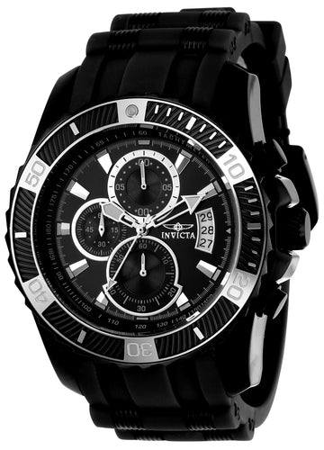 Invicta 22433 Men's Pro Diver Chronograph Black Steel & Black Polyurethane Strap Watch