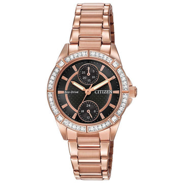 Citizen FD3003-58E Women's Rose Gold Steel Eco Drive POV Black Dial Swarovski Crystal Watch