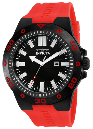 Invicta 23515 Men's Pro Diver Black Dial Red Polyurethane Strap Watch